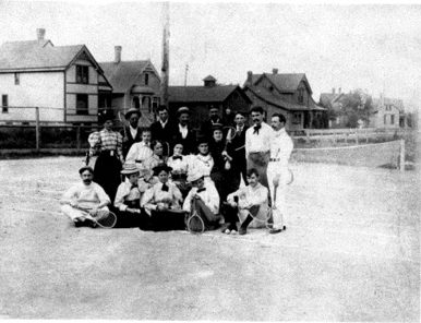 Playing tennis in Bay View in 1893.