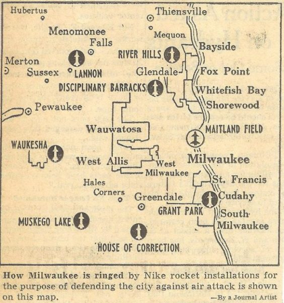 A newspaper clipping showing Milwauke air defenses during the early stages of the Cold War.