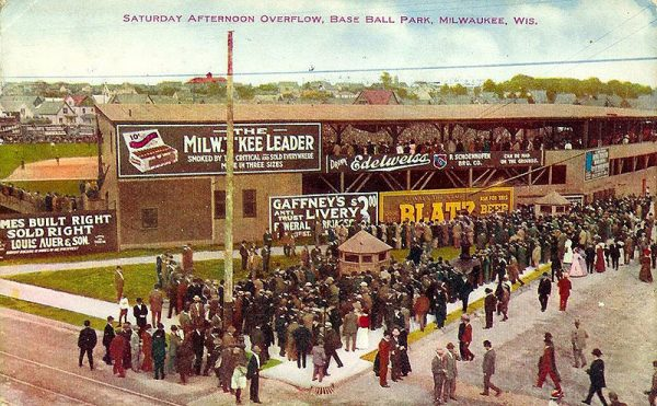 Postcard featuring crowds gathered outside Borchert Field, postmarked 1911.