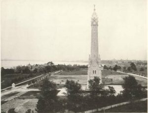 Image featuring the North Point Water Tower as seen from St. Mary's Hospital, circa 1885.