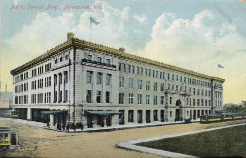 <table class=&quot;lightbox&quot;><tr><td colspan=2 class=&quot;lightbox-title&quot;>Public Service Building</td></tr><tr><td colspan=2 class=&quot;lightbox-caption&quot;>Postcard of the Public Service Building in 1908. The Public Service Building was a hub of Milwaukee's twentieth century transportation and electricity infrastructure.</td></tr><tr><td colspan=2 class=&quot;lightbox-spacer&quot;></td></tr><tr class=&quot;lightbox-detail&quot;><td class=&quot;cell-title&quot;>Source: </td><td class=&quot;cell-value&quot;>Greetings from Milwaukee: Selections from the Thomas and Jean Ross Bliffert Postcard Collection, Archives. University of Wisconsin-Milwaukee Libraries. <br /><a href=&quot;http://collections.lib.uwm.edu/digital/collection/gfmmke/id/268/rec/1&quot; target=&quot;_blank&quot;>University of Wisconsin-Milwaukee Libraries</a></td></tr><tr class=&quot;filler-row&quot;><td colspan=2>&nbsp;</td></tr></table>