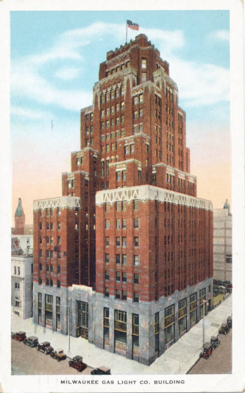 Postcard of the Milwaukee Gas Light Company Building in 1933. Note that its famous gas flame has not been added yet.