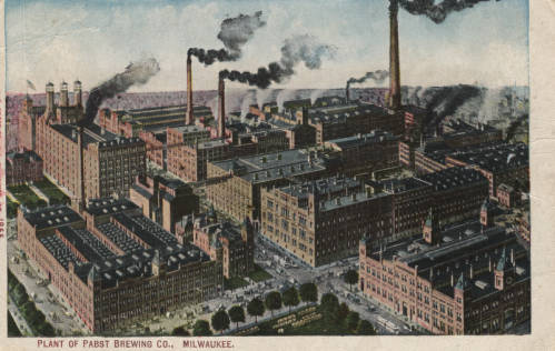 Postcard featuring the Pabst Brewing Company production plant.