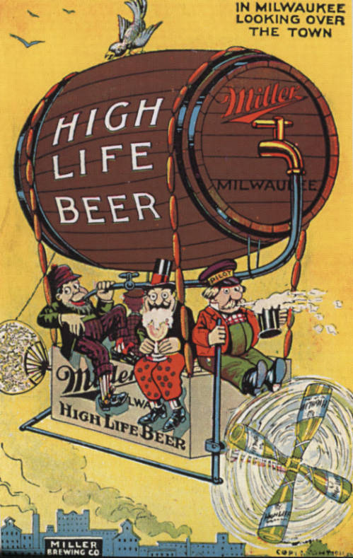 Postcard advertising Miller Brewing Company's Miller High Life beer.