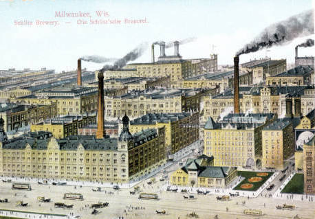 <table class=&quot;lightbox&quot;><tr><td colspan=2 class=&quot;lightbox-title&quot;>Schlitz Brewing Company Plant</td></tr><tr><td colspan=2 class=&quot;lightbox-caption&quot;>Postcard featuring the Schlitz Brewing company plant. </td></tr><tr><td colspan=2 class=&quot;lightbox-spacer&quot;></td></tr><tr class=&quot;lightbox-detail&quot;><td class=&quot;cell-title&quot;>Source: </td><td class=&quot;cell-value&quot;>Greetings from Milwaukee: Selections from the Thomas and Jean Ross Bliffert Postcard Collection, Archives. University of Wisconsin-Milwaukee Libraries. <br /><a href=&quot;http://collections.lib.uwm.edu/digital/collection/gfmmke/id/469/rec/22&quot; target=&quot;_blank&quot;>University of Wisconsin-Milwaukee Libraries</a></td></tr><tr class=&quot;filler-row&quot;><td colspan=2>&nbsp;</td></tr></table>