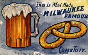 Postcard Advertising beer and pretzels in Milwaukee, Wis.