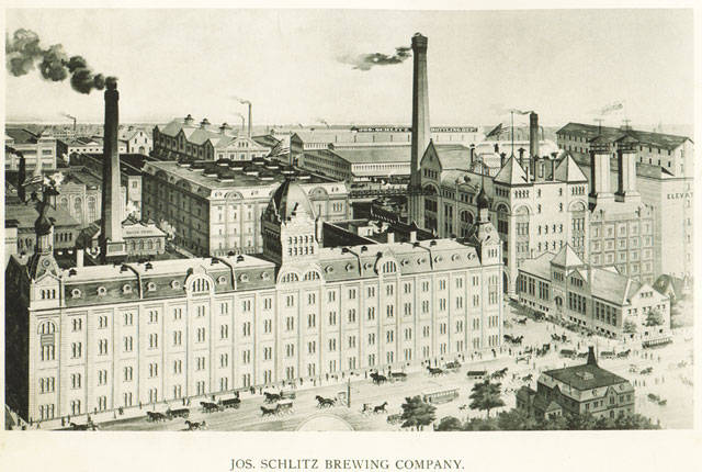 <table class=&quot;lightbox&quot;><tr><td colspan=2 class=&quot;lightbox-title&quot;>Schlitz Brewing Company, 1895</td></tr><tr><td colspan=2 class=&quot;lightbox-caption&quot;>View of brewery looking East across 3rd Street (now Martin Luther King, Jr. Drive). The Joseph Schlitz Brewery and the Pabst Brewery were the largest of the Milwaukee beer makers. The Milwaukee plant of Schlitz Brewery was closed in 1980.</td></tr><tr><td colspan=2 class=&quot;lightbox-spacer&quot;></td></tr><tr class=&quot;lightbox-detail&quot;><td class=&quot;cell-title&quot;>Source: </td><td class=&quot;cell-value&quot;>From the Milwaukee Neighborhoods: Photos and Maps 1885-1992 Collection, Archives. University of Wisconsin-Milwaukee Libraries. <br /><a href=&quot;http://collections.lib.uwm.edu/cdm/ref/collection/mkenh/id/354&quot; target=&quot;_blank&quot;>University of Wisconsin Milwaukee Libraries</a></td></tr><tr class=&quot;filler-row&quot;><td colspan=2>&nbsp;</td></tr></table>