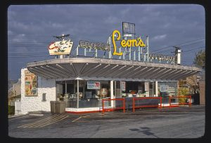 Photograph of Leon's Frozen Custard stand and drive-in, located on South 27th and Oklahoma.