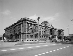 Photograph featuring the Milwaukee Public Library, circa 1933.