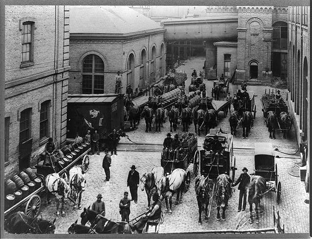 <table class=&quot;lightbox&quot;><tr><td colspan=2 class=&quot;lightbox-title&quot;>Horse-Drawn Carriages Leave the Schlitz Brewery</td></tr><tr><td colspan=2 class=&quot;lightbox-caption&quot;>Photograph featuring several horse-drawn carriages loaded with kegs of beer leaving the Schlitz Brewery, circa 1900-1920.  </td></tr><tr><td colspan=2 class=&quot;lightbox-spacer&quot;></td></tr><tr class=&quot;lightbox-detail&quot;><td class=&quot;cell-title&quot;>Source: </td><td class=&quot;cell-value&quot;>From the Library of Congress Prints and Photographs Division. <br /><a href=&quot;https://www.loc.gov/item/2012647851/&quot; target=&quot;_blank&quot;>Library of Congress</a></td></tr><tr class=&quot;filler-row&quot;><td colspan=2>&nbsp;</td></tr></table>