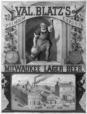 1879 print advertisement for Val Blatz's Milwaukee lager beer featuring a bird's-eye view of the brewery.