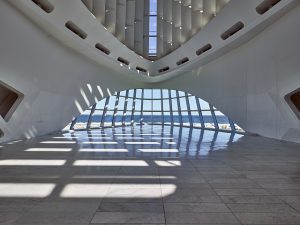 Photograph featuring the atrium of the Milwaukee Art Museum.