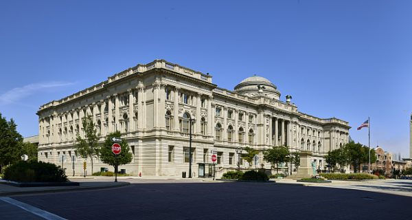 Photograph featuring the Milwaukee Public Library Central Library on Wisconsin Avenue.