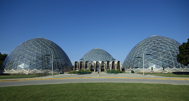 Photograph featuring the Mitchell Park Horticultural Conservatory, commonly known as The Domes.