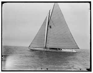 Photograph featuring a yacht sailing in Milwaukee, 1901.