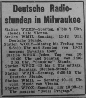 German radio hours in Milwaukee, advertised in the Abendpost und Milwaukee Deutsche Zeitung, July 3, 1950.