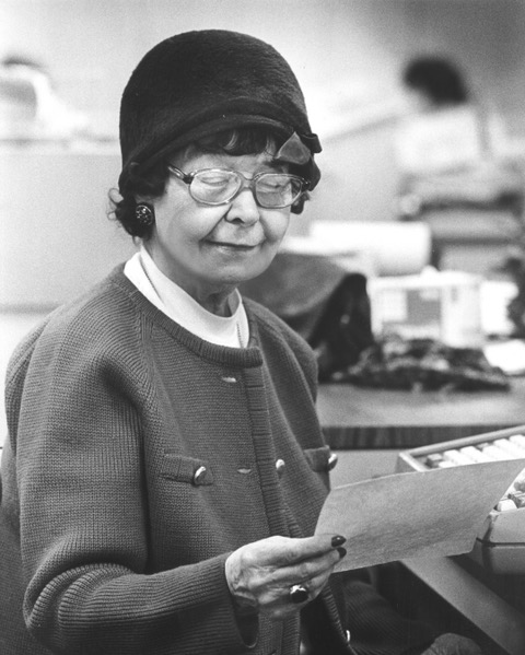 Photograph of the iconic Ione Quinby Griggs taken during the 1970s, the latter half of her impressive newspaper career. She retired in 1985.