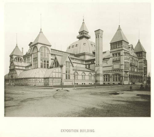 The Milwaukee Exposition Building, shown here around 1885, hosted events until it was destroyed in a fire in 1905.
