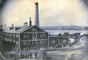 Photograph of the G. Pfister and Company City Tannery before it reincorporated as the Pfister & Vogel Company in 1872.