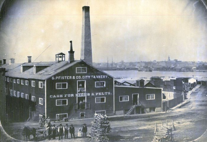<table class=&quot;lightbox&quot;><tr><td colspan=2 class=&quot;lightbox-title&quot;>G. Pfister and Company City Tannery</td></tr><tr><td colspan=2 class=&quot;lightbox-caption&quot;>Photograph of the G. Pfister and Company City Tannery before it reincorporated as the Pfister &amp; Vogel Company in 1872. </td></tr><tr><td colspan=2 class=&quot;lightbox-spacer&quot;></td></tr><tr class=&quot;lightbox-detail&quot;><td class=&quot;cell-title&quot;>Source: </td><td class=&quot;cell-value&quot;>From the Milwaukee County Historical Society.<br /><a href=&quot;https://milwaukeehistory.net/research/photographic-collections/&quot; target=&quot;_blank&quot;>Milwaukee County Historical Society</a></td></tr><tr class=&quot;filler-row&quot;><td colspan=2>&nbsp;</td></tr></table>