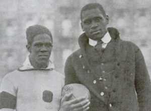 Photograph of Fritz Pollard, left, and Paul Robeson, right, taken in 1918. Both men played for the Milwaukee Badgers in the 1920s.