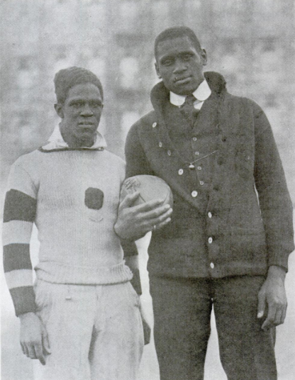 <table class=&quot;lightbox&quot;><tr><td colspan=2 class=&quot;lightbox-title&quot;>Fritz Pollard and Paul Robeson</td></tr><tr><td colspan=2 class=&quot;lightbox-caption&quot;>Photograph of Fritz Pollard, left, and Paul Robeson, right, taken in 1918. Both men played for the Milwaukee Badgers in the 1920s. </td></tr><tr><td colspan=2 class=&quot;lightbox-spacer&quot;></td></tr><tr class=&quot;lightbox-detail&quot;><td class=&quot;cell-title&quot;>Source: </td><td class=&quot;cell-value&quot;>From The Crisis, Vol. 15 No. 5, March 1918. Page 230. Accessed via Google Books.<br /><a href=&quot;https://books.google.com/books?id=AloEAAAAMBAJ&printsec=frontcover&source=gbs_ge_summary_r&cad=0#v=onepage&q&f=false&quot; target=&quot;_blank&quot;>Google Books</a></td></tr><tr class=&quot;filler-row&quot;><td colspan=2>&nbsp;</td></tr></table>