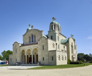 Photograph of the St. Sava Serbian Orthodox Cathedral taken in 2016. Completed in 1958, the church is a key aspect of Milwaukee's Serbian community and includes a school and other cultural organizations.