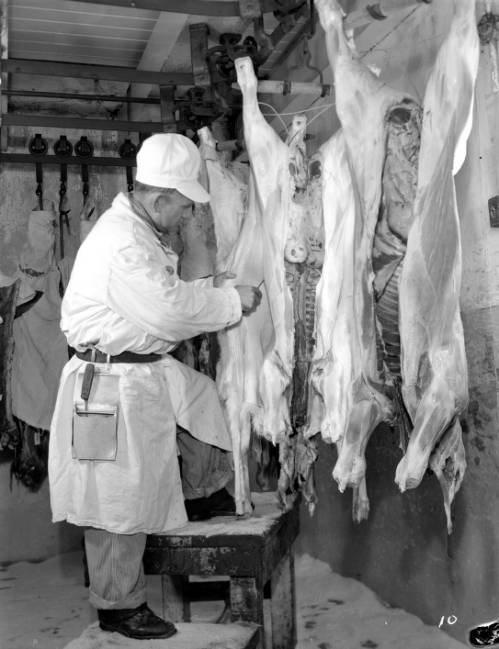 <table class=&quot;lightbox&quot;><tr><td colspan=2 class=&quot;lightbox-title&quot;>Armour & Company Employee at Work</td></tr><tr><td colspan=2 class=&quot;lightbox-caption&quot;>Photograph of an employee at Armour & Company, a leading meatpacking firm, skinning animals in 1943.</td></tr><tr><td colspan=2 class=&quot;lightbox-spacer&quot;></td></tr><tr class=&quot;lightbox-detail&quot;><td class=&quot;cell-title&quot;>Source: </td><td class=&quot;cell-value&quot;>From the James Blair Murdoch Photographs. Archives, University of Wisconsin-Milwaukee Libraries. </td></tr><tr class=&quot;filler-row&quot;><td colspan=2>&nbsp;</td></tr></table>