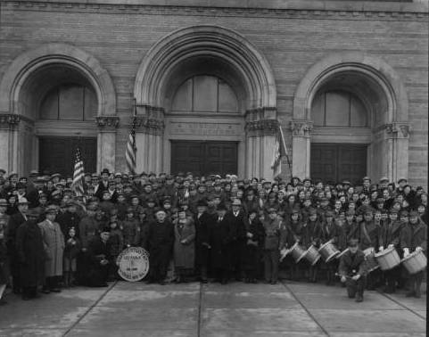 <table class=&quot;lightbox&quot;><tr><td colspan=2 class=&quot;lightbox-title&quot;>Polish National Alliance Scouting Meeting</td></tr><tr><td colspan=2 class=&quot;lightbox-caption&quot;>A large gathering of PNA scouts, including musicians from Chicago, at St. Adelbert's Church.</td></tr><tr><td colspan=2 class=&quot;lightbox-spacer&quot;></td></tr><tr class=&quot;lightbox-detail&quot;><td class=&quot;cell-title&quot;>Source: </td><td class=&quot;cell-value&quot;>From the Roman B. Kwaniewski Photographs Collection, Archives. University of Wisconsin-Milwaukee Libraries. <br /><a href=&quot;http://collections.lib.uwm.edu/digital/collection/mke-polonia/id/33357/rec/19&quot; target=&quot;_blank&quot;>University of Wisconsin-Milwaukee Libraries</a></td></tr><tr class=&quot;filler-row&quot;><td colspan=2>&nbsp;</td></tr></table>