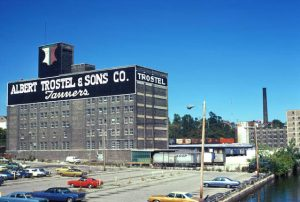 A view of the Albert Trostel & Sons tannery on Commerce Street from the Walnut Street Bridge taken in 1974.