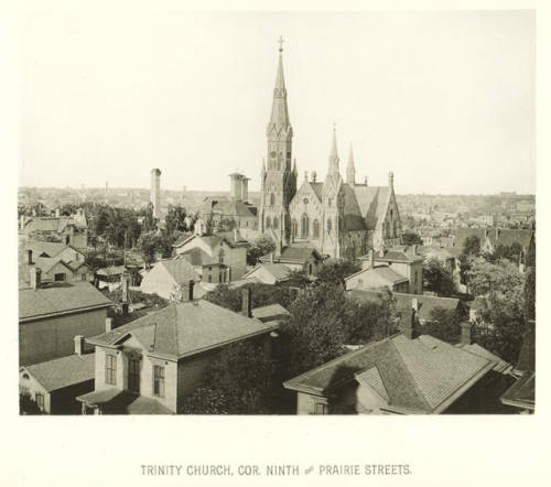 Photograph featuring the Trinity Evangelical Lutheran Church, circa 1885.