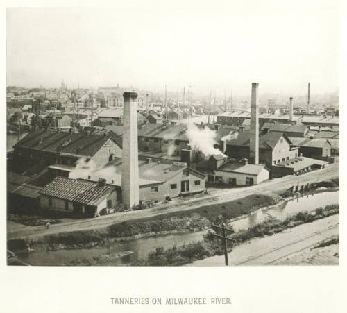 A view of tanneries on the Milwaukee River looking southeast on what will become Commerce Street, which was originally a canal along the river.