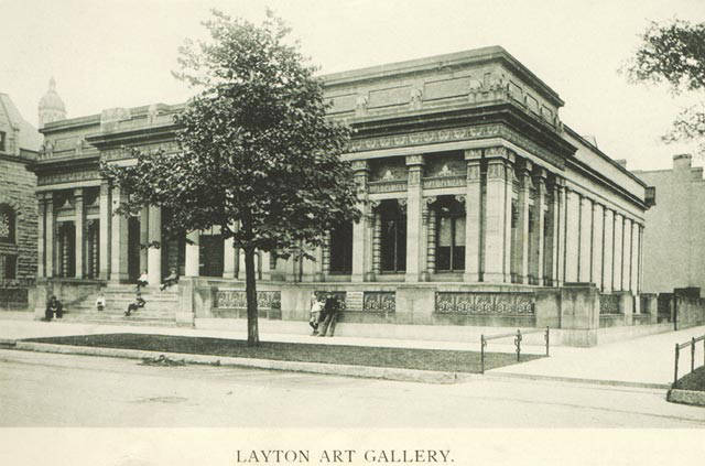 <table class=&quot;lightbox&quot;><tr><td colspan=2 class=&quot;lightbox-title&quot;>Layton Art Gallery</td></tr><tr><td colspan=2 class=&quot;lightbox-caption&quot;>Photograph of the Layton Art Gallery, a predecessor of the Milwaukee Art Museum, taken in 1895. </td></tr><tr><td colspan=2 class=&quot;lightbox-spacer&quot;></td></tr><tr class=&quot;lightbox-detail&quot;><td class=&quot;cell-title&quot;>Source: </td><td class=&quot;cell-value&quot;>From the Milwaukee Neighborhoods: Photos and Maps 1885-1992 Collection, Archives. University of Wisconsin-Milwaukee Libraries.<br /><a href=&quot;http://collections.lib.uwm.edu/digital/collection/mkenh/id/334/rec/10&quot; target=&quot;_blank&quot;>University of Wisconsin-Milwaukee Libraries</a></td></tr><tr class=&quot;filler-row&quot;><td colspan=2>&nbsp;</td></tr></table>