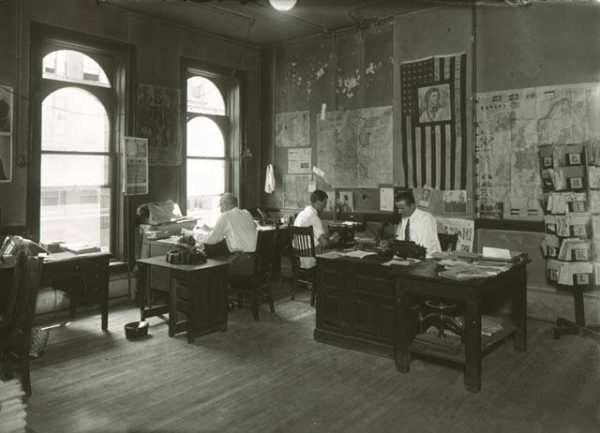 Photograph of the editorial office for the first Polish-language newspaper published in Milwaukee, Kuryer Polski, taken in 1928.