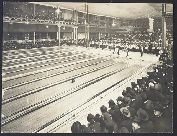 Photograph of bowlers in action at the first tournament hosted by American Bowling Congress, held in Milwaukee in 1905.