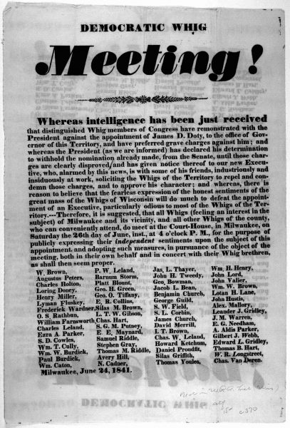 Front page of a leaflet announcing a Whig meeting at the Milwaukee County Courthouse on June 26, 1841.