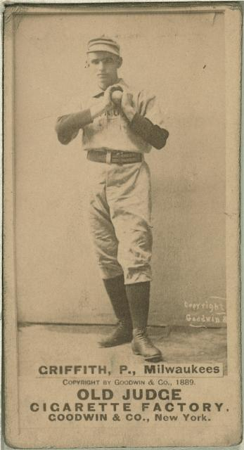 Baseball card featuring minor league Milwaukee pitcher Clark Griffith, created between 1887 and 1890.
