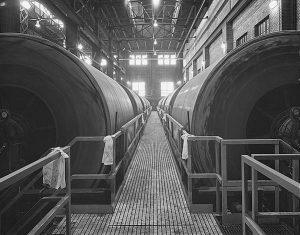 This 1981 photograph shows the filter cake cylinders at the Jones Island Treatment Plant.