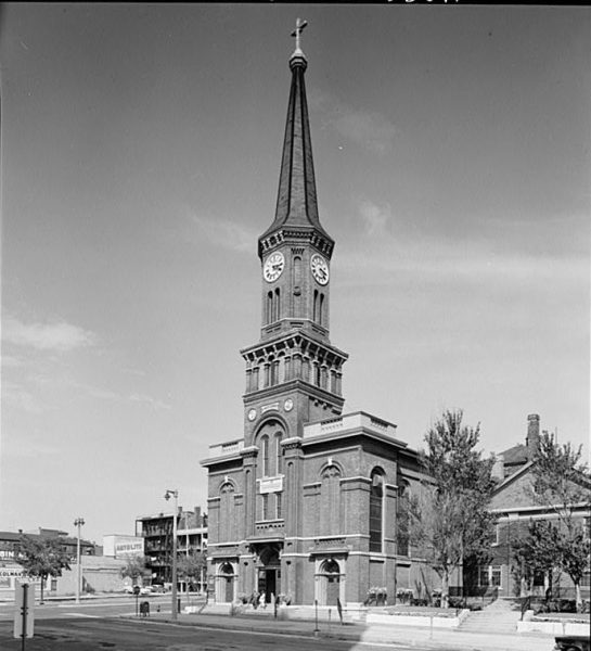 Photograph of St. Mary's Church located on N. Broadway. Established in 1846, the church remains an important and popular part of Milwuakee's Catholic community.