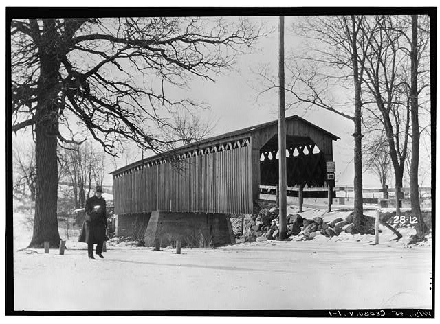 <table class=&quot;lightbox&quot;><tr><td colspan=2 class=&quot;lightbox-title&quot;>Covered Bridge over Cedar Creek</td></tr><tr><td colspan=2 class=&quot;lightbox-caption&quot;>This covered bridge is a Cedarburg landmark. Photograph taken in 1934. </td></tr><tr><td colspan=2 class=&quot;lightbox-spacer&quot;></td></tr><tr class=&quot;lightbox-detail&quot;><td class=&quot;cell-title&quot;>Source: </td><td class=&quot;cell-value&quot;>Library of Congress Historic American Buildings Survey Collection. <br /><a href=&quot;https://www.loc.gov/item/wi0094/&quot; target=&quot;_blank&quot;>Library of Congress</a></td></tr><tr class=&quot;filler-row&quot;><td colspan=2>&nbsp;</td></tr></table>