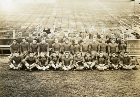 Photograph of the 1936 Marquette University football team. This competitive team played against Texas Christian University in the Cotton Bowl.