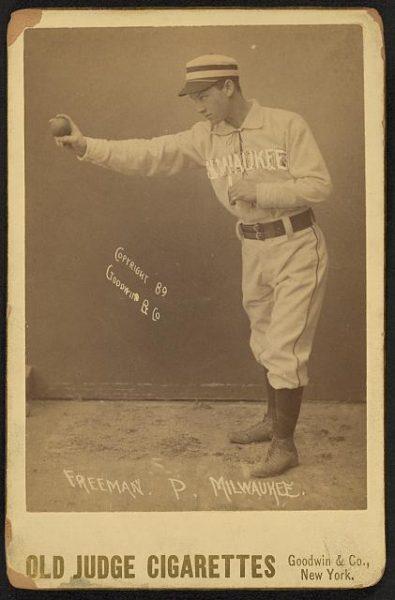 Baseball card featuring Milwaukee minor league pitcher John Freeman, circa 1889.