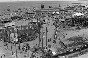 This photograph shows the Summerfest grounds as seen from on top the double ferris wheel at the midway, taken in 1972.