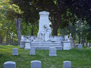 This monument in Forest Home Cemetery is characteristic of 19th century rural cemeteries, which aimed to elevate the spirits of visitors with beautiful and didactic art as well as restful surroundings.
