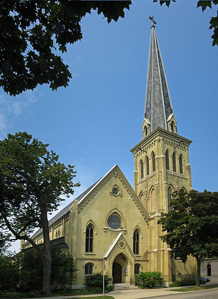 Photograph of the All Saints Episcopal Cathedral, originally known as the Cathedral Church of All Saints. It was one of the first Episcopal cathedrals in the United States.