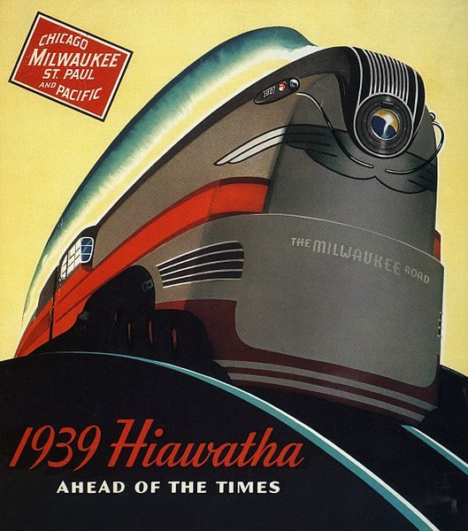 This 1939 advertisement used art deco style to emphasize the sleek modernity of the Milwaukee Road's Hiawatha trains.
