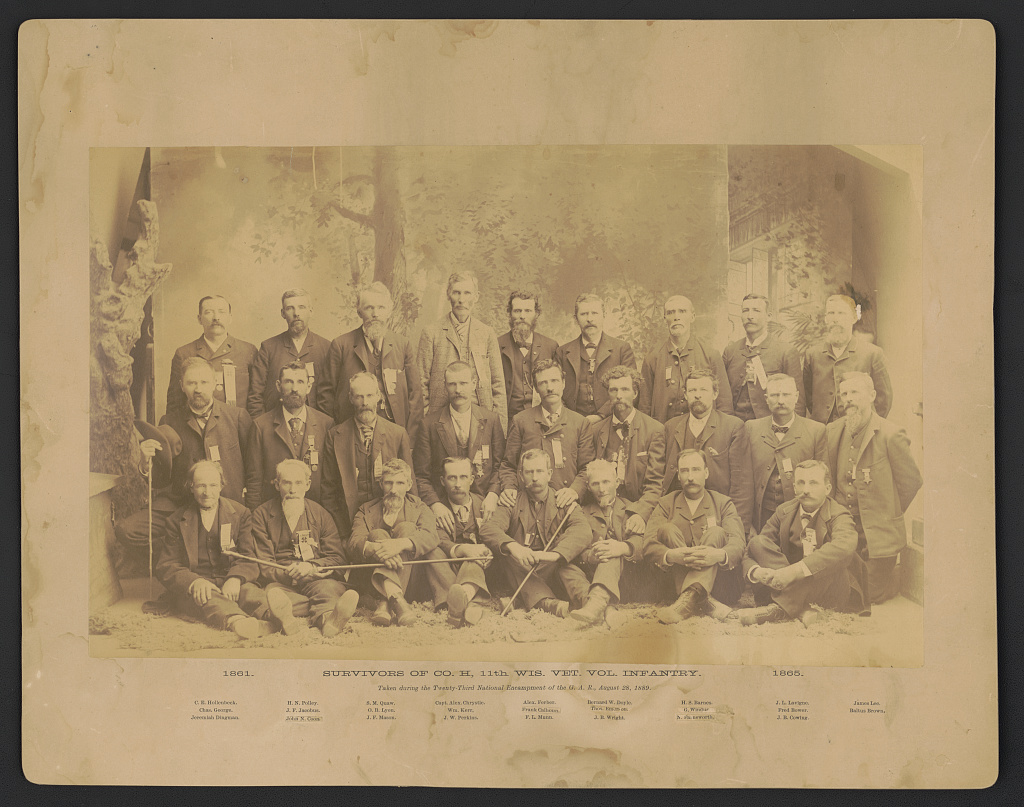 1889 photograph of survivors of Co. H, 11th Wisconsin Volunteer Infantry taken during the 23rd national encampment of the G.A.R. in Milwaukee.