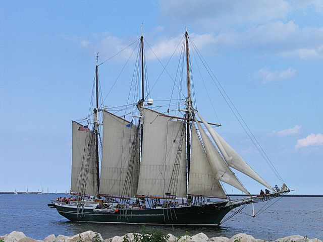 The S/V Denis Sullivan was built to educate modern visitors about nineteenth-century sailing.