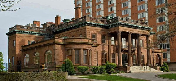 Photograph of the McInstosh-Goodrich Mansion, home to the Wisconsin Conservatory of Music. Designed in 1904, the building is listed on the National Register of Historic Places.