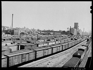 This 1941 photograph shows rail yards in Milwaukee.